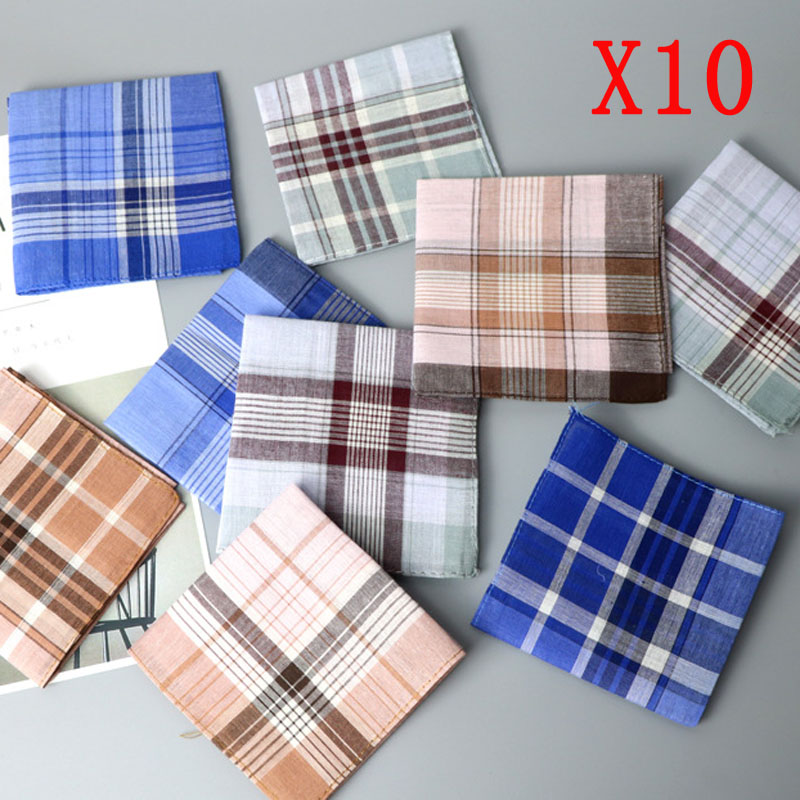 10pcs 38*38cm Men Handkerchiefs Cotton Stripe Women Hankies Gift Set Classic Plaid Handkerchief Vintage Square Pocket Hanky