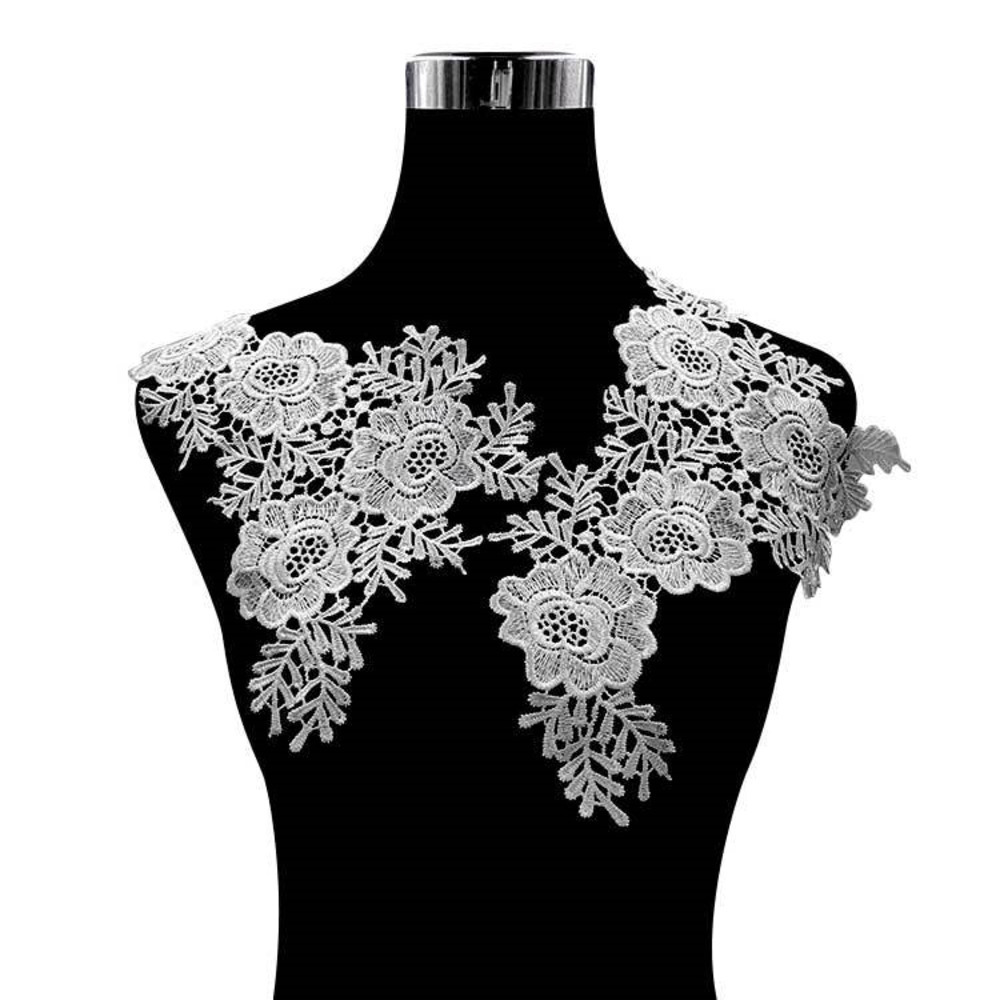 1 Pair Fabric Flower Floral Lace Sewing Applique Lace Collar Neckline Collar Applique DIY Craft Neckline Sewing Accessories