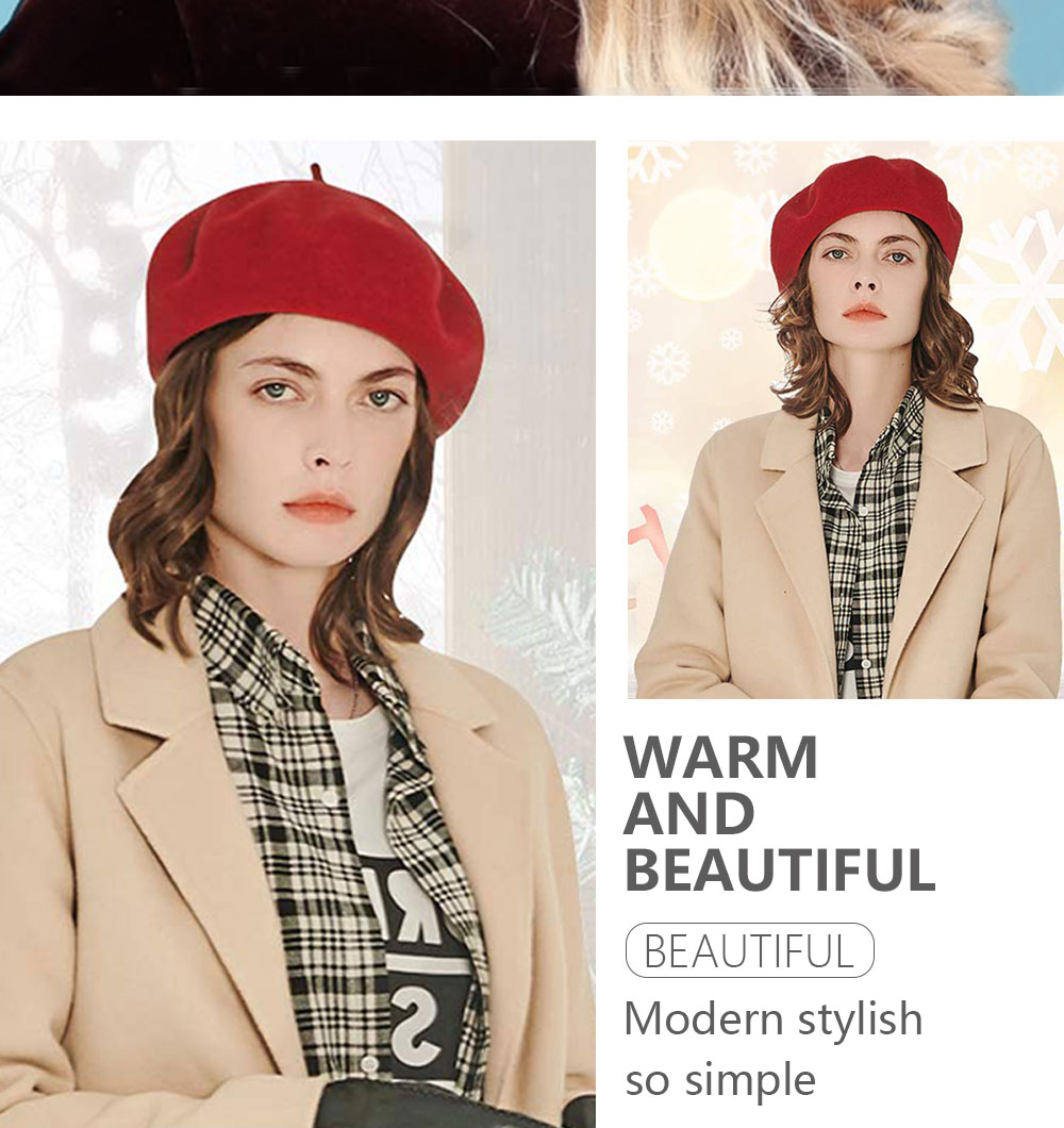 Elegant Lady Women Wool Felt Warm French Classic Beret Beanie Slouch Hat Cap Tam 26