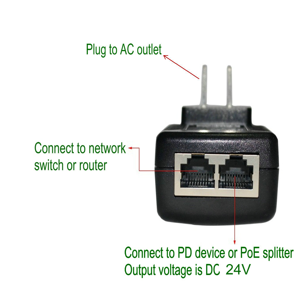 24V 1A Passive PoE Power Supply Injector Adapter With Wall Plug IEEE 802.3af Compliant 10/100Mbps For IP Camera,APand More