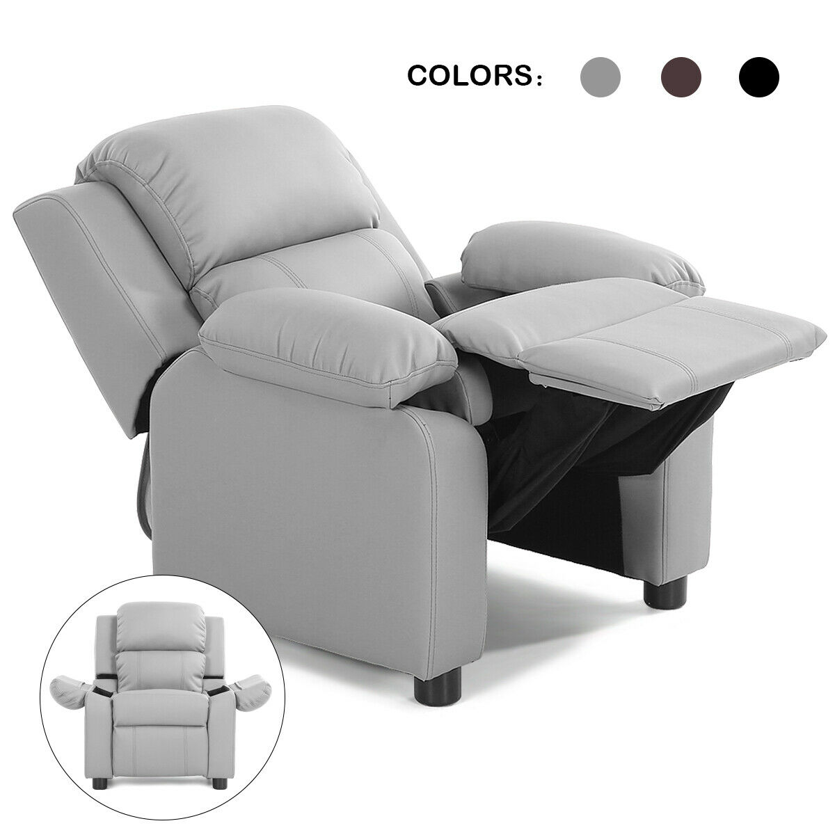 Costway Kids Sofa Deluxe Padded Armchair Recliner Headrest W/ Storage Arms