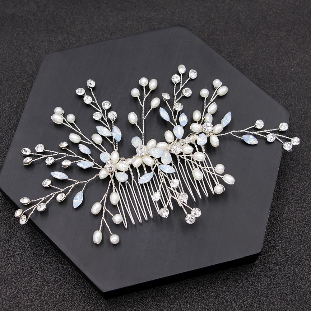 Wedding Flowers Pin Accessories Stunning Crystal Pearls Hand Made Comb Jewelry Party Hair Accessories