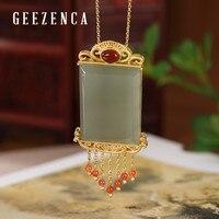 925 Sterling Silver Gold Plated Jade Jasper Red Agate Tassels Pendant Trendy Vintage Gemstone Pendants Fine Jewelry Women Gift