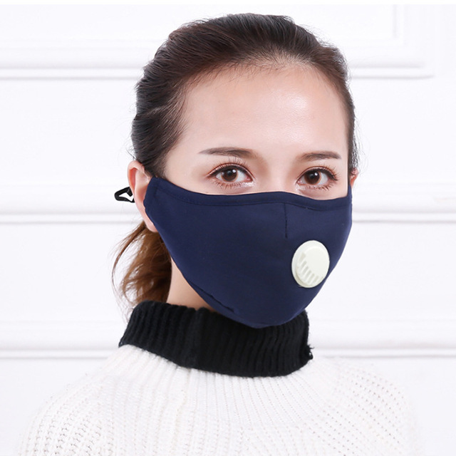 4PCS Reusable Washable Cotton Mask Breathing Valve PM2.5 Anti-Dust Face Mask Unisex Replaceable Filter 5-layer Protective Filter 2