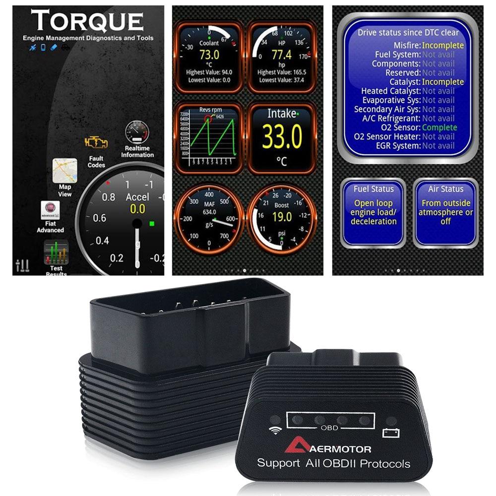 Wifi Bluetooth ELM327 OBD2 II Car Diagnostic Tools Pic18f25k80 For Chevrolet Citroen Peugeot Dodge Jeep Chrysler Adapter Scanner
