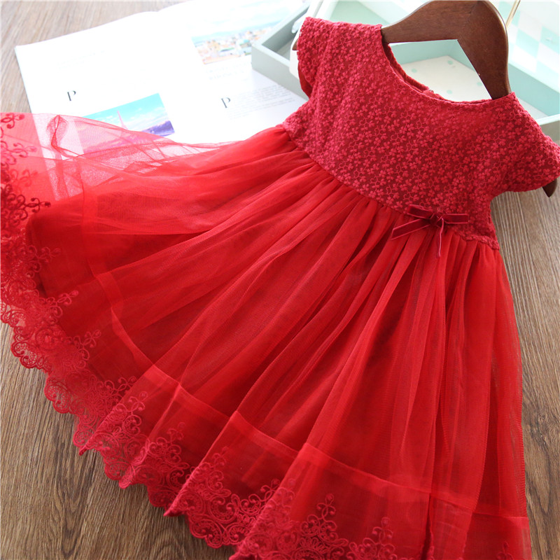 Lace Girl Party Dress Children Clothing Princess Kids Dresses For Girls Causal Wear 2 3 5 6 7 Years White Red Vestido Robe Fille 3