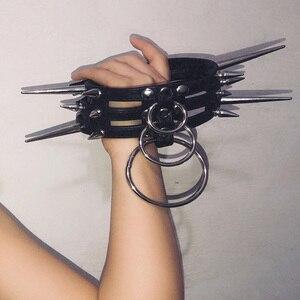 Ручная работа панк готический шипы сверхмощный 3 ряд слоистых уплотнительное кольцо чокер кожаный воротник шипованное ожерелье