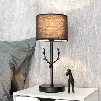 Современная светодиодная настольная лампа с рогами, Скандинавская Настольная лампа с регулируемой яркостью, прикроватная лампа для спальн...
