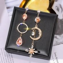лучшая цена S925 Silver Needle European and American  Asymmetric  Earrings Korea Long Tassel Earrings Personality Moon Earrings Female