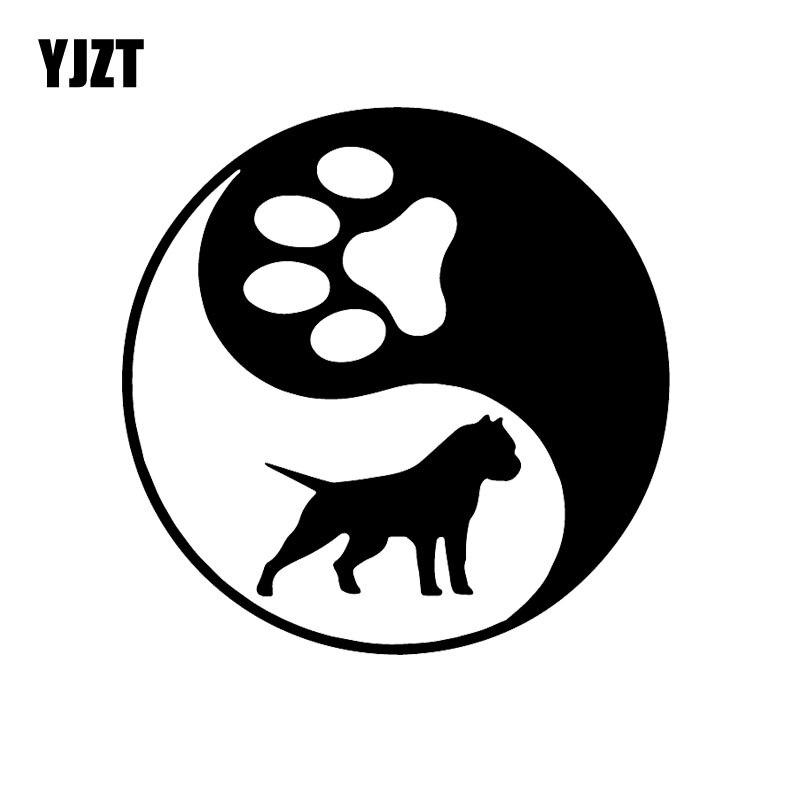 YJZT 14.8X14.8CM Creative Car Sticker Yin Yang Pitbull Vinyl Decal Dog American Bully Black/Silver C24-1284