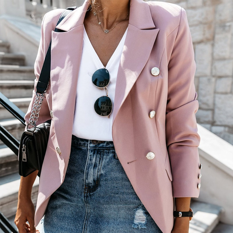 Stand Collar Long Sleeve Women's Blazer Coat Autumn Solid Pink Double Breasted Ladies Coats 2019 Fashion Slim Outwear For Female