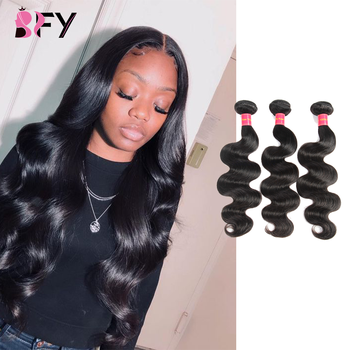 BFY Peruvian Hair Body Wave Bundles 100% Human Hair 3 Bundles Deals None Remy Hair Extension Natural Color Hair For Black Women image