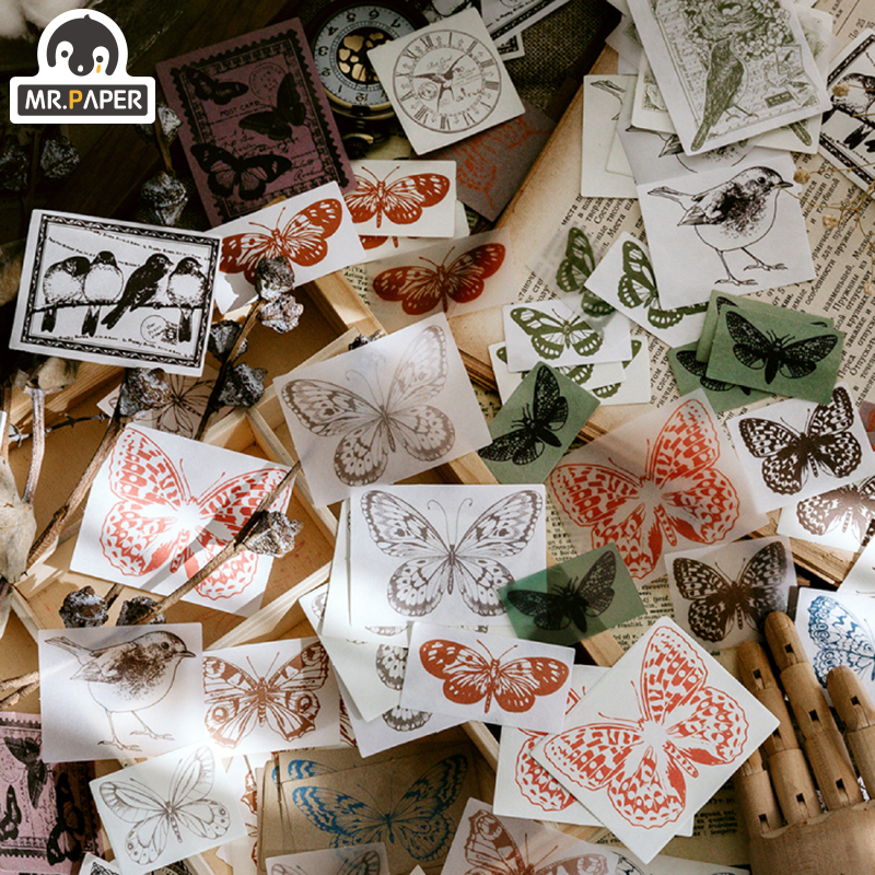 Mr.paper 100pcs Sketch Collection Botany Material Paper DIY Handmade Dry kraft Journal Travel Recording Envelopes Planner Gift 4