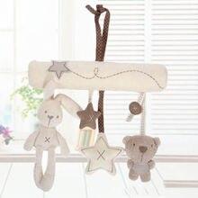 Ребенок мультфильм животное музыка игра кровать вешалка колокольчик младенец коляска мобильный подарок ребенок кроватка погремушка игрушка мягкий милый кролик медведь колокольчик игрушка