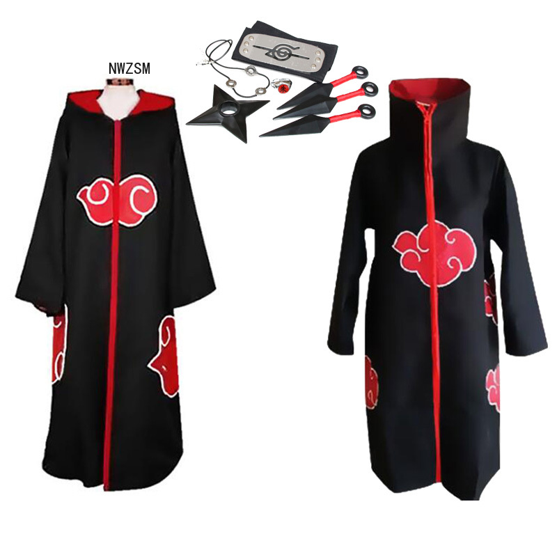 NARUTO Anime Cosplay Costume Akatsuki  Cloak Uchiha Itachi Headband Costume