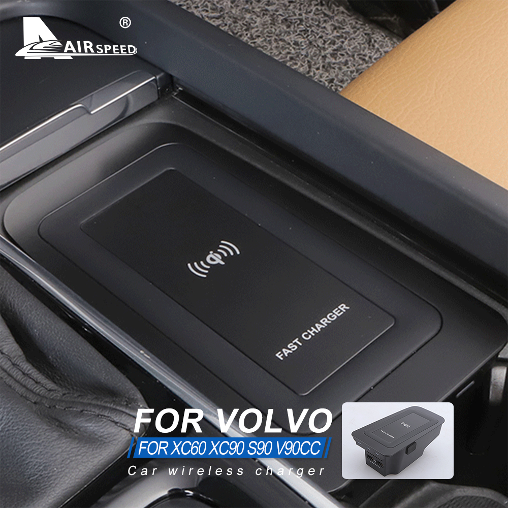 AIRSPEED Car Wireless Charger for Volvo XC90 XC60 2018 2019 S90 V90 V60 2020 S60 Accessories Special Mobile Phone Charging Plate