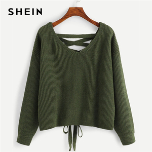 Image 1 - SHEIN Army Green Lace Up Back Drop Shoulder Sweater Pullover Women Autumn Winter Long Sleeve V Neck Casual Ladies Solid Sweaters