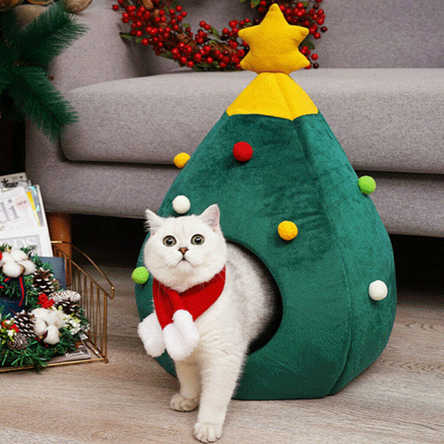 Christmas Themed Soft Cat Cave Bed