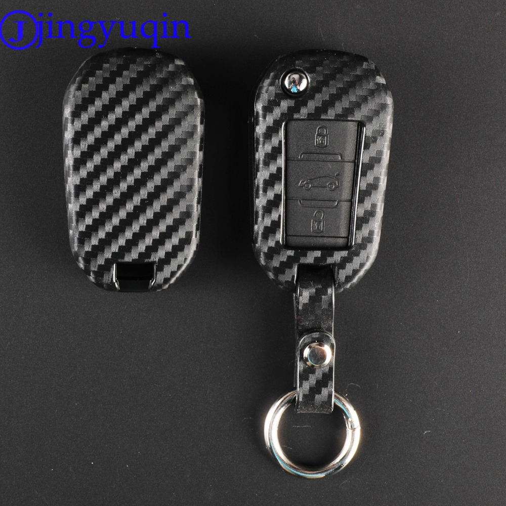 jingyuqin Carbon Silicone Remote Folding <font><b>Key</b></font> Case <font><b>Cover</b></font> for <font><b>Peugeot</b></font> <font><b>3008</b></font> 208 308 508 408 2008 for Citroen C4 CACTUS C5 C3 C4L image