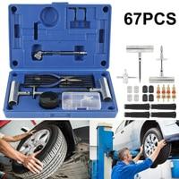 67pcs Car Tire Repair Tools Van Motorcycle Bike Emergency Heavy Duty Tubeless Tire Puncture Plug Set Trailer Tire Repair Kit