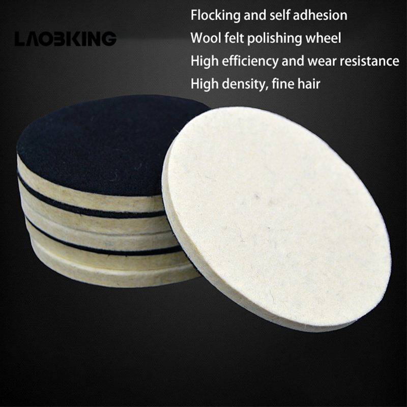 1pc Wool Polishing Wheel Mirror Polishing Disc Pure Fine Wool Pad High Density Flocking Self-adhesive Felt Wheel