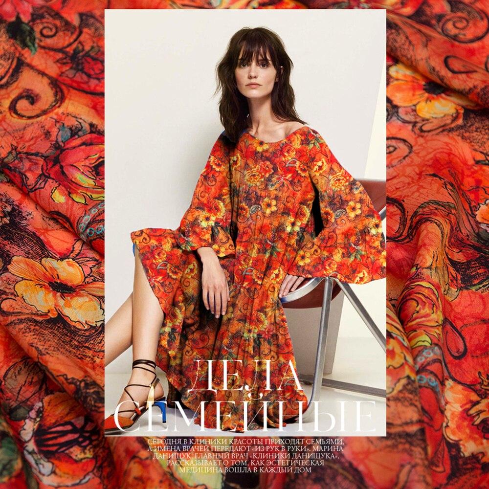 50cm Flower Dance Silk Crepe De Chine Fabric Digital Printing Summer Dress Shirt Silk Fabric Pastoral