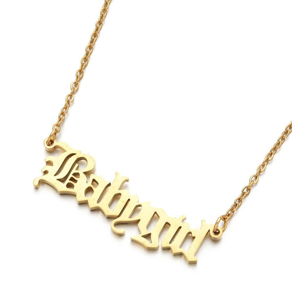 Moda neonate collana Babygirl collana inglese lettera pendenti acciaio inossidabile mamma amanti gioielli fidanzata