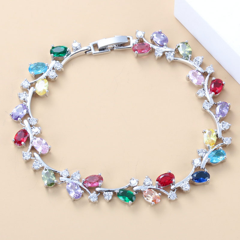 Fashion Trinket 925 Sterling Silver Colorful Zircon Overlay Link Chain <font><b>19CM</b></font> <font><b>Bracelet</b></font> For Women Free Gift Box image