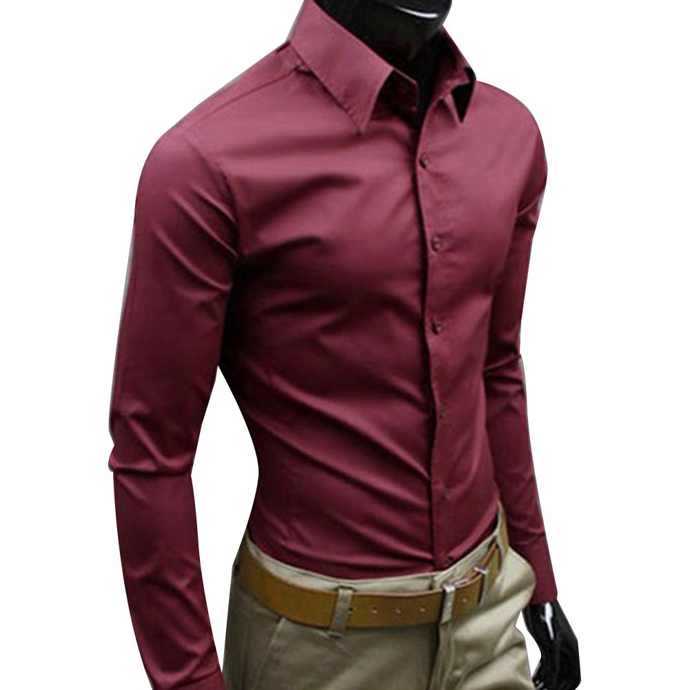 Brand Men's 100% Cotton Long Sleeves Men Dress Shirts Men Solid Color Business Long Sleeve Button Turn Down Collar Shirt Top