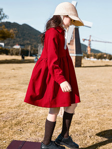 Image 2 - Robe dautomne pour filles, tenue de princesse tricotée, en coton, à col roulé, pour enfants, superbe collection 2020, #5673