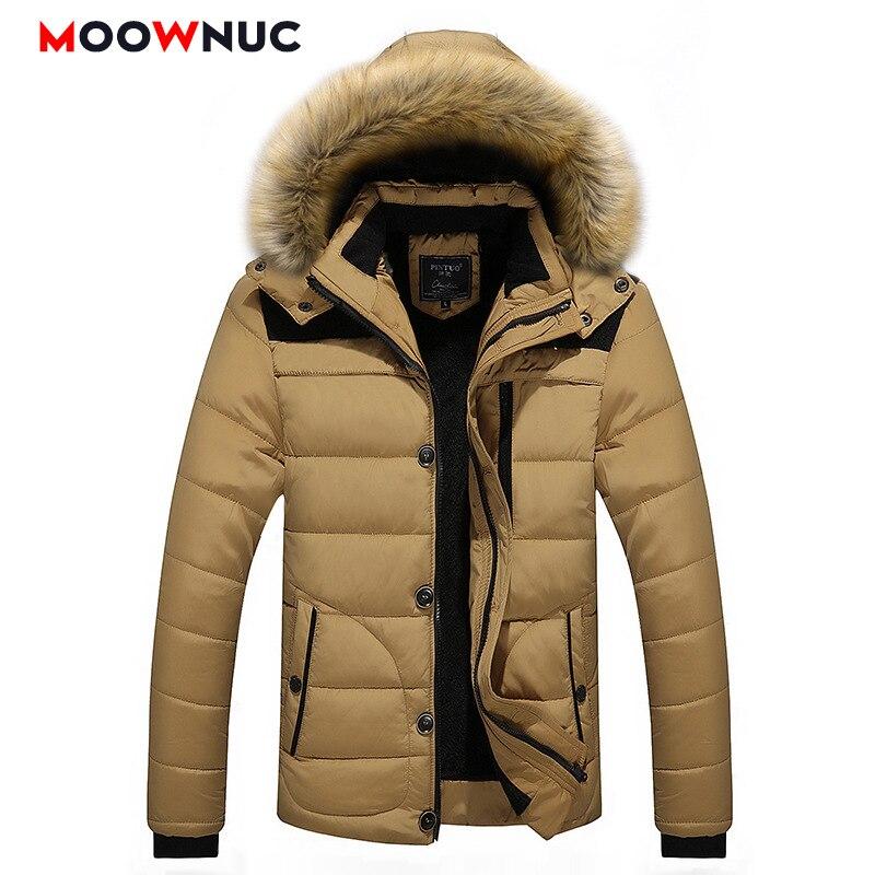 Winter Men's   Parkas   Overcoat Fashion Coats Windbreaker Thick Hombre   Parkas   Jackets Slim Solid Hats Casual Windproof 5XL MOOWNUC