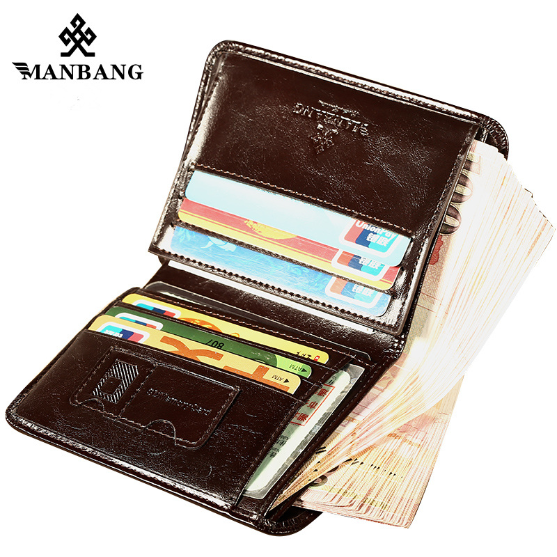 ManBang Male Genuine Leather Wallets Men Wallet Credit Business Card Holders Vintage Brown Leather Wallet Purses High Quality 2