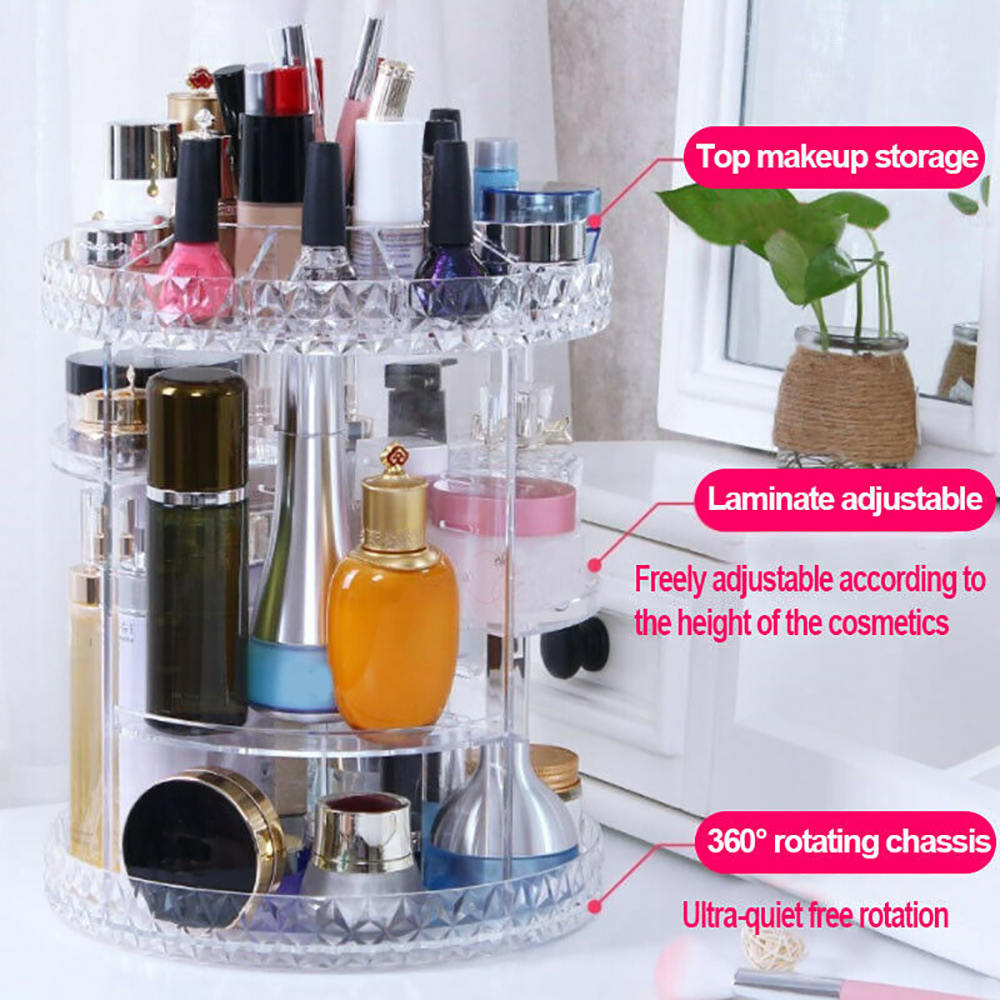 Acrylic Cosmetic Makeup Organizer Storage Box Shelf 360 Degrees Rotating Display Makeup Storage Boxes