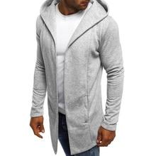 ZOGAA Mens Hooded Sweatshirt Solid Color Long Cardigan Hoodies Streetwear Men Casual Spring Autumn Slim Fit Jacket Male Clothing