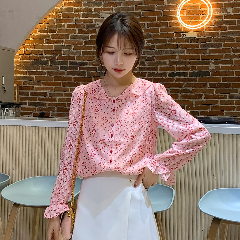Professional Female Print Shirt Long Sleeve Peter pan Collar Chiffon Blouse Women Office Ladies Tops Elegant Slim Work Clothes