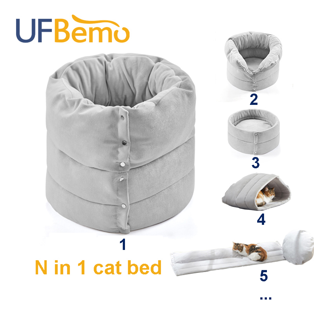 UFBemo N in 1 <font><b>Cat</b></font> <font><b>Bed</b></font> <font><b>House</b></font> Dog Kattenmand Deep Sleeping Cave Pet Home Cozy <font><b>Cats</b></font> <font><b>Beds</b></font> Tent Nest Carpet Pillow Kennel Cama Gato image
