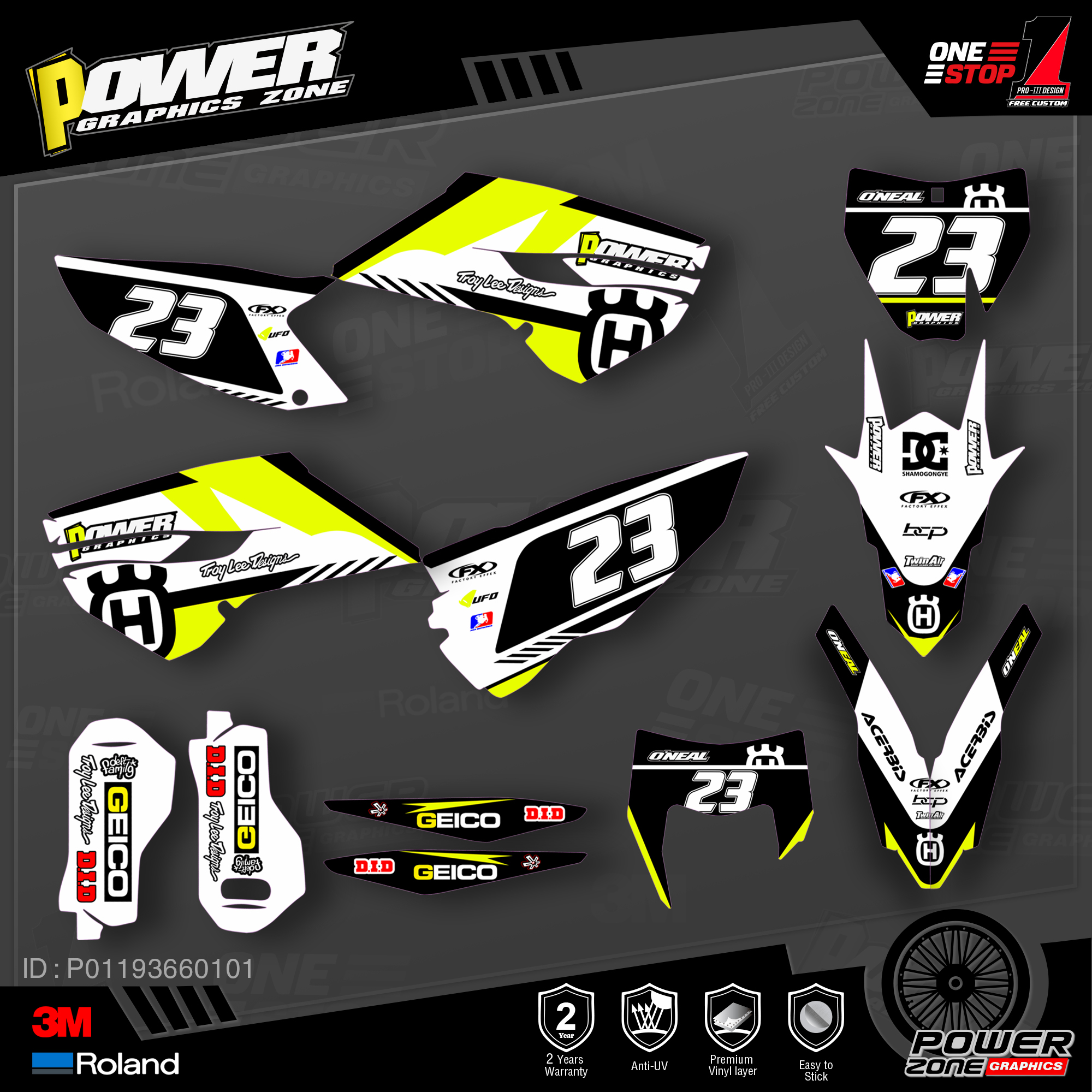 PowerZone Custom Team Graphics Decals 3M Stickers Kit For Husqvarna Sticker Decal 2014-15 TC FC 2015-16 FE TE 125 To 450cc  01