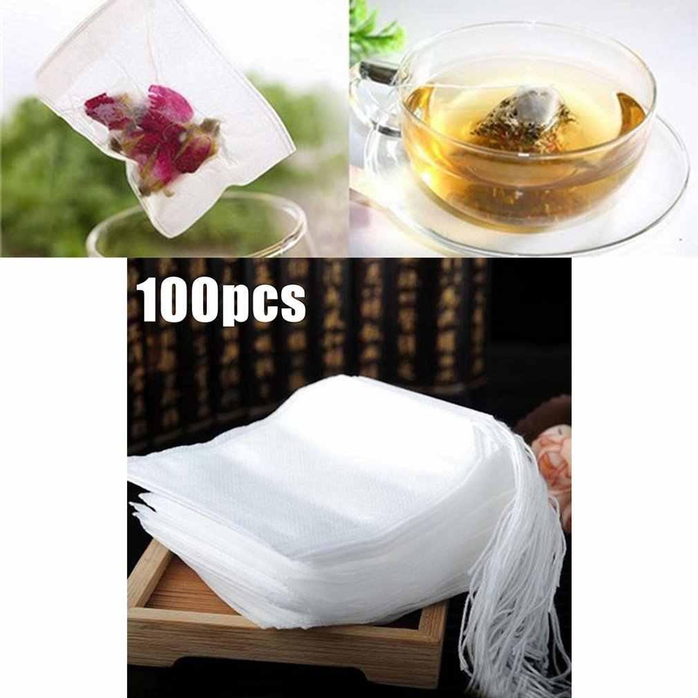 100 Pcs Non-woven Disposable Filter Empty Teabags Herb Loose Tea Bag 5.5 x 7cm