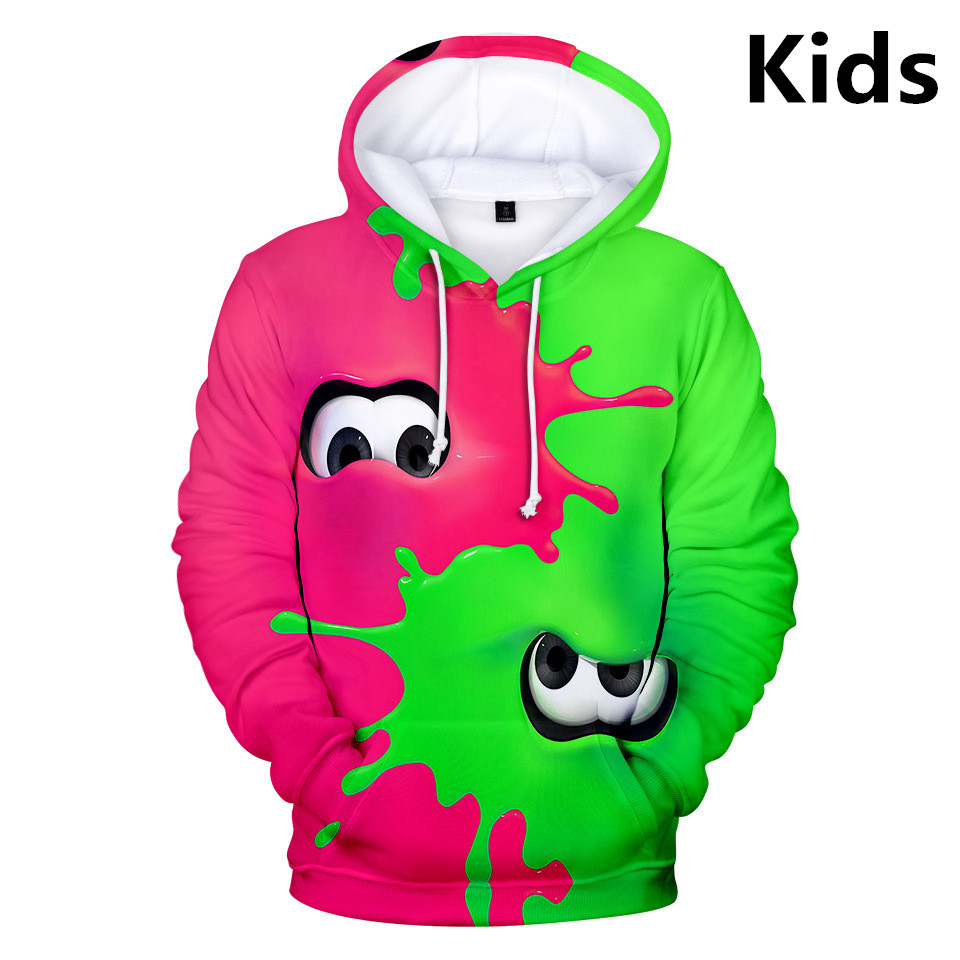Hot 2 To 13 Years Kids Hoodies Shooting Game Splatoon 3D Print Hoodie Sweatshirt Boys Girls Fashion Cartoon Jacket Teen Clothes