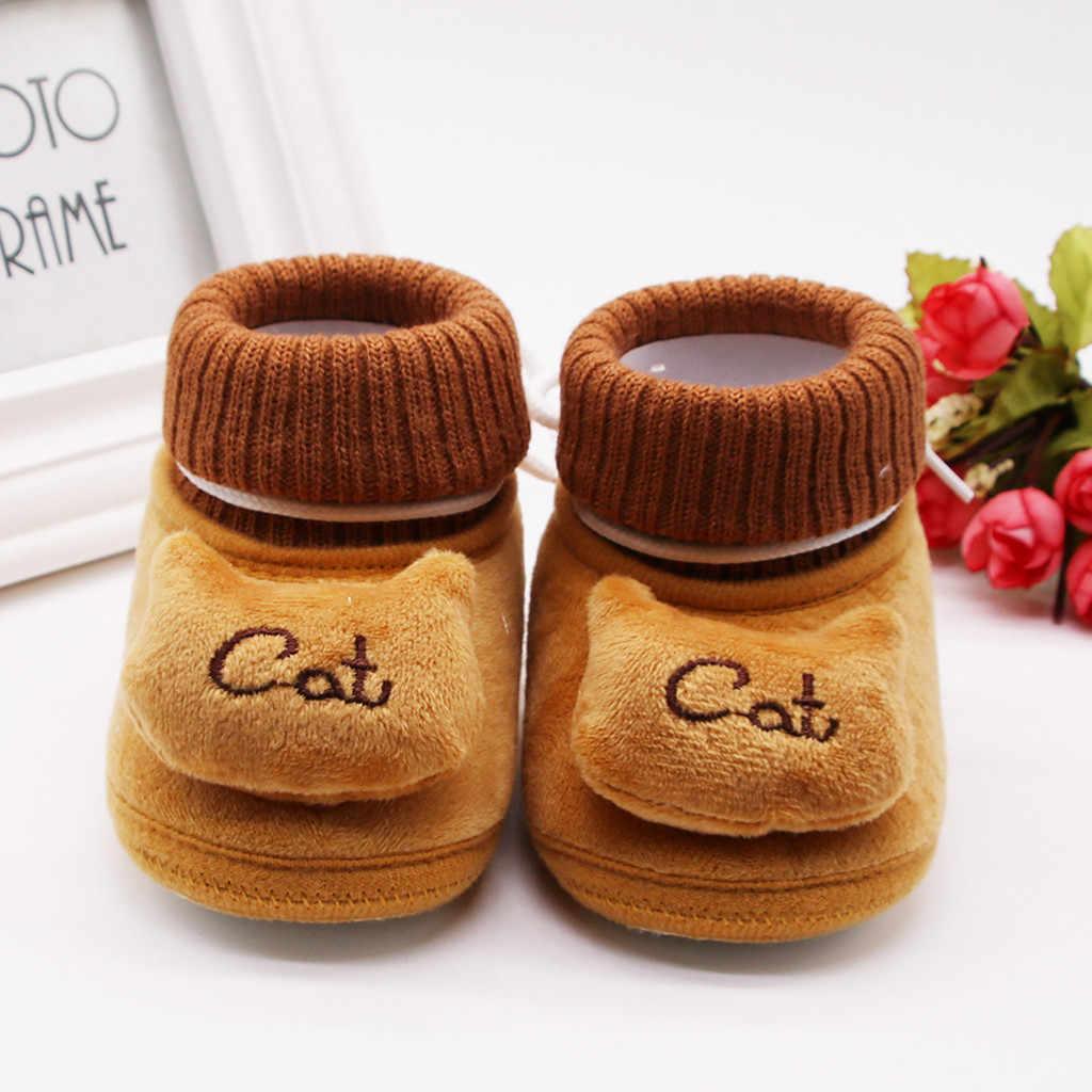Botas para bebês, botas quentes de inverno para bebês recém-nascidos, de caxemira e gato