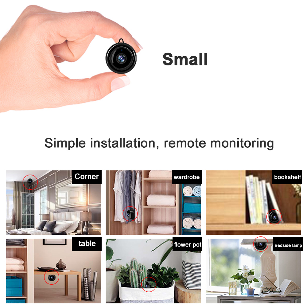 Camera Wifi Mini IP HD1080P Home Security Wireless Small CCTV Infrared Night Vision Motion Detection SD Card Slot Audio V380 APP