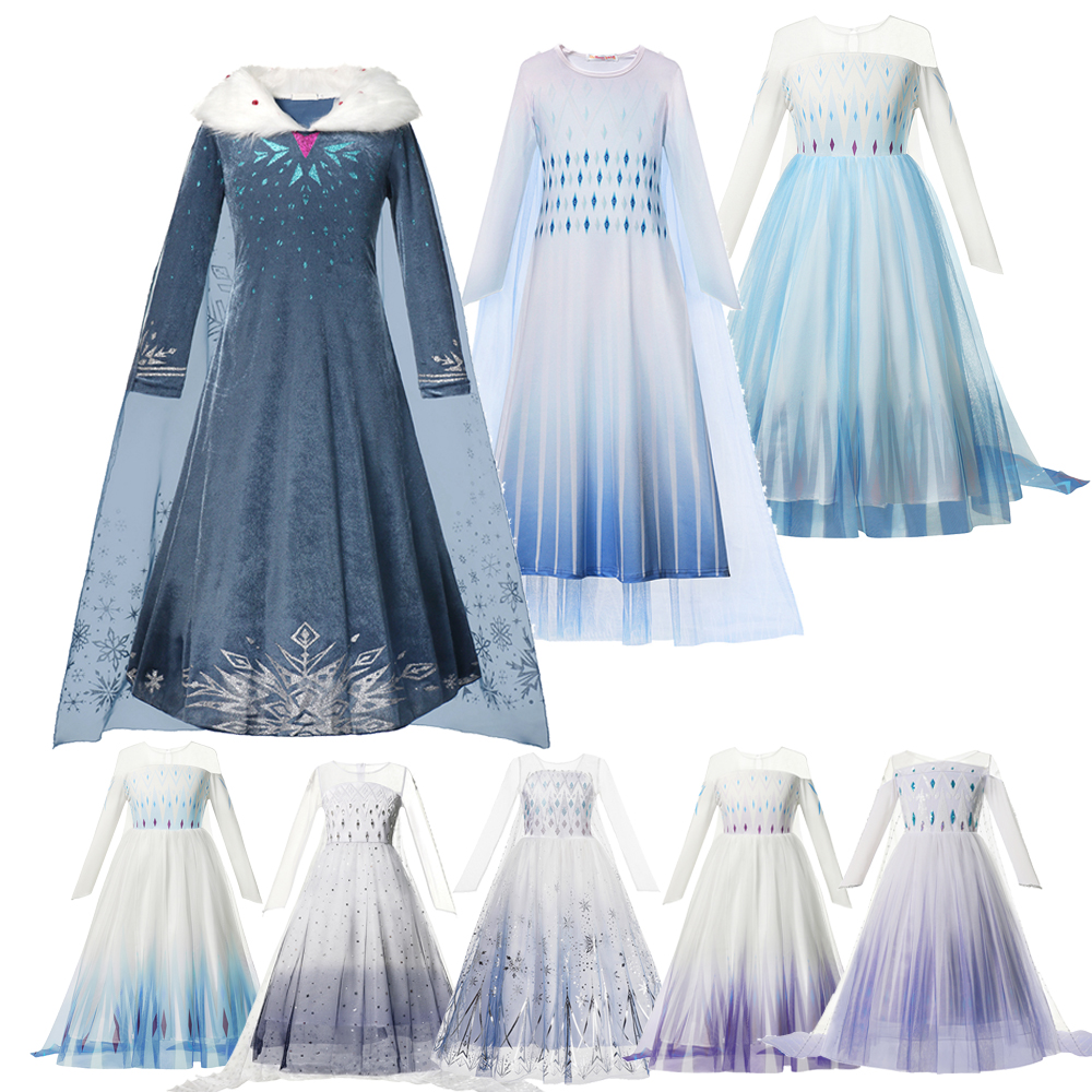 Princess Fancy Dress Costume for Girls Snow Queen Costume Fancy Up Sequin with Snow Cloak Birthday Cosplay Halloween Party Dresses Outfit 3-4Y