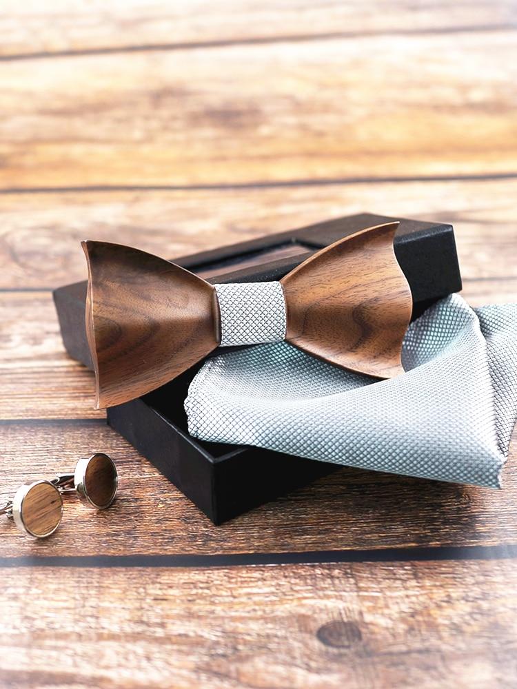 Wooden Tie Cufflinks Bow-Tie Gravata-Set Wedding-Dinne Fashion New-Design Corbata 3D
