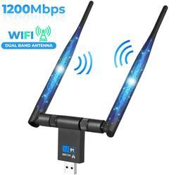 AMKLE 1200Mbps اللاسلكية USB واي فاي محول هوائي مزدوج USB LAN إيثرنت 2.4G 5.8G ثنائي النطاق USB بطاقة الشبكة واي فاي بطاقة دونغل