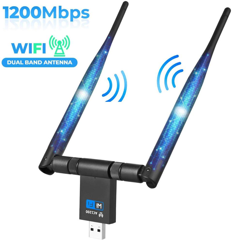 AMKLE 1200Mbps Wireless USB Wifi Adapter Dual Antenna USB LAN Ethernet 2.4G 5.8G Dual Band USB Network Card Wifi Dongle Card