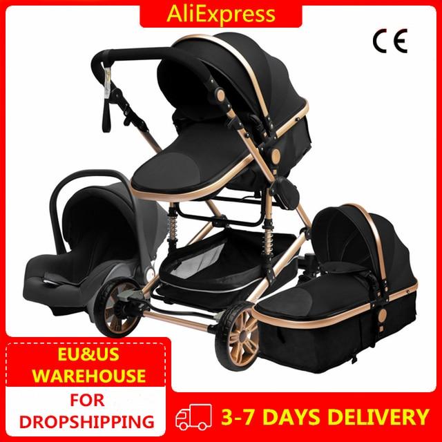 Luxurious Baby Stroller 3 in 1 Portable Travel Baby Carriage Fold Pram High Landscape Aluminum Frame Newborn Infant Stroller 1