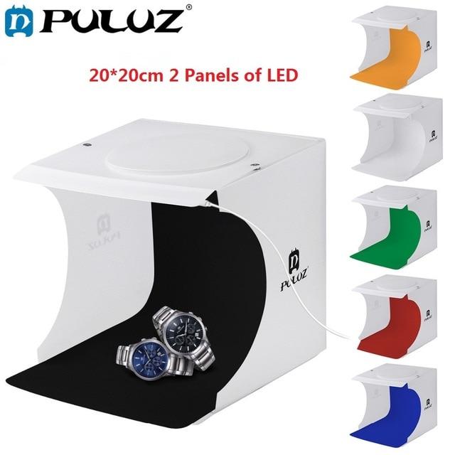 PULUZ 20cm Mini Studio Diffuse Soft Box Lightbox 2 LED Panels 1100LM Light Tabletop Shooting Photo Studio Box 6 Color Backdrops