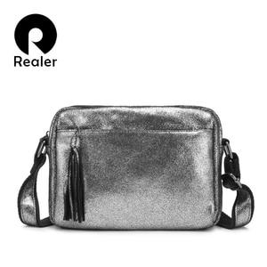 Image 1 - REALER genuine leather crossbody bags for women 2020 tassel shoulder messenger bag  ladies fashion purses and handbags design