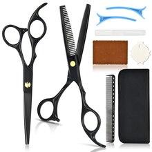 9 шт. Черный окрашенный высококачественный парикмахерские ножницы набор волосы ножницы парикмахерская ножницы волосы стрижка ножницы парикмахерские ножницы
