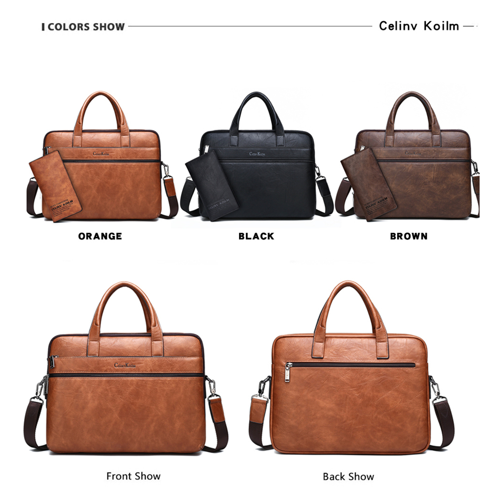 "Celinv Koilm Men's Briefcase Bags For 13.3"" Laptop Man Business Shoulder Bag Handbags High Quality Leather Office Black"